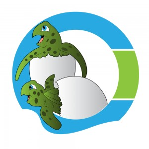two hatching turtles coming out of HIOC logo graphic (no TM)